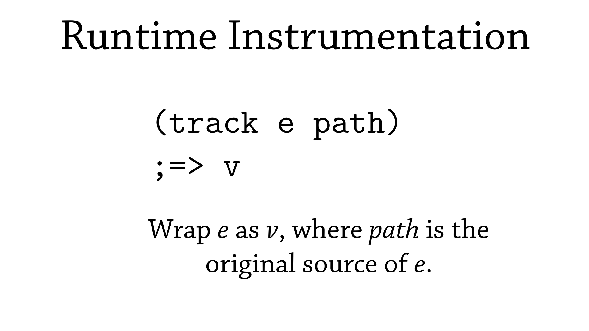 Specification of track