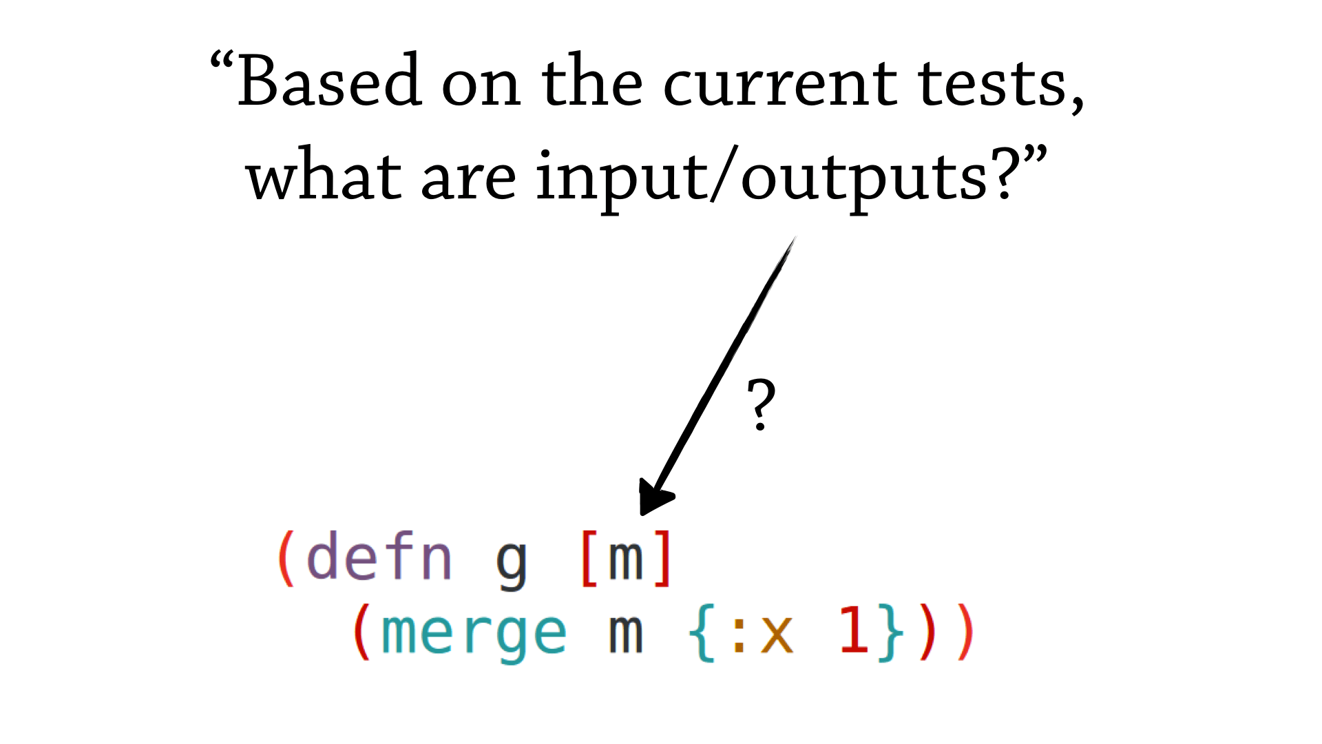 Based on the current tests, what are the inputs/outputs of a function?